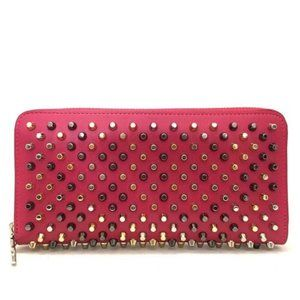 Auth Christian Louboutin Spike Studs Zip Wallet